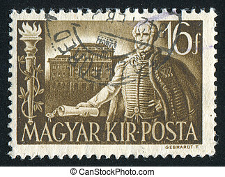 HUNGARY - CIRCA 1941: stamp printed by Hungary, shows Count Szechenyi and Royal Academy, circa 1941
