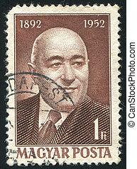 Matyas Rakosi - HUNGARY - CIRCA 1952: stamp printed by...