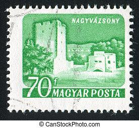 Nagyvazsony Castle - HUNGARY - CIRCA 1960: stamp printed by ...