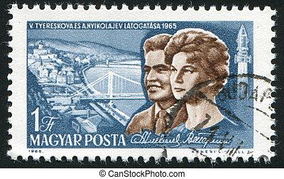 HUNGARY – CIRCA 1965: stamp printed by Hungary, shows Nikolayev, Tereshkova and View of Budapest, circa 1965