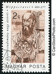 HUNGARY - CIRCA 1987: stamp printed by Hungary, shows Hippocrates, Greek physician, circa 1987