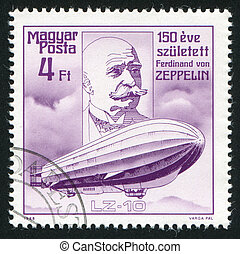 HUNGARY - CIRCA 1988: stamp printed by Hungary, shows Count Ferdinand von Zeppelin, circa 1988
