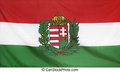 Hungary Coat of Arms Flag real fabric seamless close up