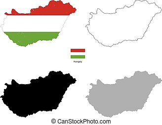 Hungary country black silhouette and with flag on background