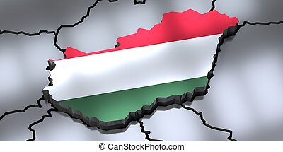 Hungary - country borders and flag - 3D illustration