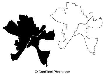 (hungary, csongradr, szeged, county), mapa, vector, ...