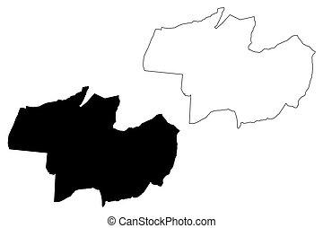 (hungary, debrecen, county), mapa, vector, ilustración, ...