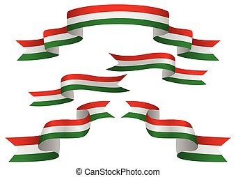 Hungary Flag Banner - Set of Hungary insignia in different...