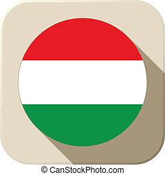 Hungary Flag Button Icon Modern