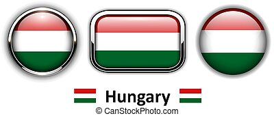 Hungary flag buttons, 3d shiny vector icons.