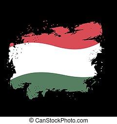 Hungary flag grunge style on black background. Brush strokes and ink splatter. National symbol of Hungarian state