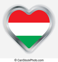 Hungary Flag Heart Glossy Button