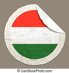 Hungary flag on a paper label