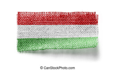 Hungary flag on a piece of cloth on a white background