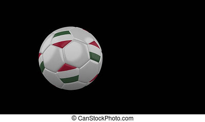 Hungary flag on flying soccer ball on transparent background, alpha channel
