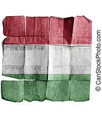 Hungary flag on old paper.