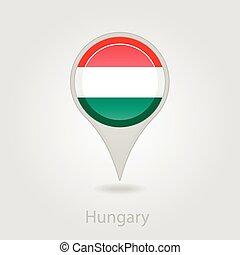 Hungary flag pin map icon, vector illustration