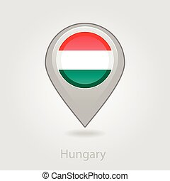 Hungary flag pin map icon, vector illustration