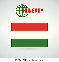 Hungary Flag vector illustration isolated on modern background with shadow.