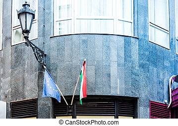 Hungary flag with EU flag in Budapest, Hungary, Europe