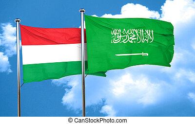 Hungary flag with Saudi Arabia flag, 3D rendering