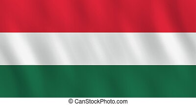 Hungary flag with waving effect, official proportion.