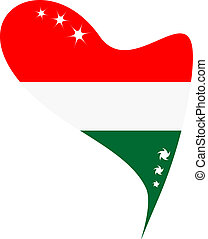 hungary in heart. Icon hungary flag