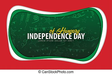 Hungary. Independence day greeting card. Paper cut style.