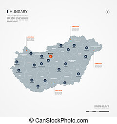 Hungary infographic map vector illustration.
