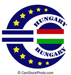 Abstract label with text Hungary, flag and euro sign, vector illustration