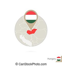 Hungary map and flag in circle. Map of Hungary, Hungary flag...