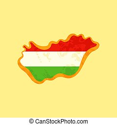 Hungary - Map colored with Hungarian flag