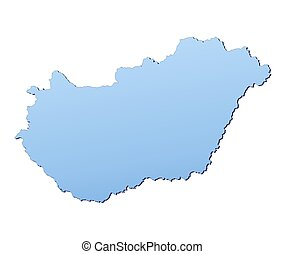 Hungary map filled with light blue gradient. High resolution...