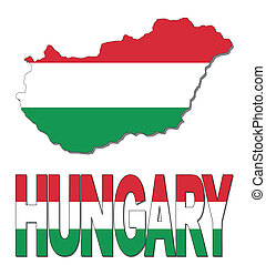 Hungary map flag and text
