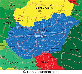 Hungary map - Highly detailed vector map of Hungary with...