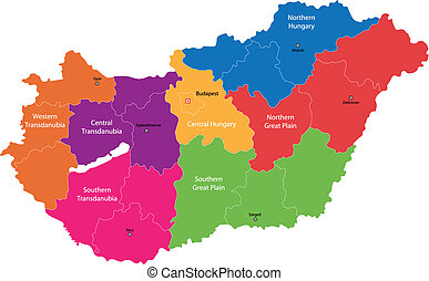 Hungary map - Map of administrative divisions of Republic of...