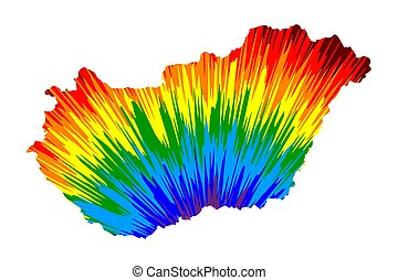 Hungary - map is designed rainbow abstract colorful pattern