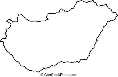 magyarország térkép körvonal Black abstract map of hungary. magyarország térkép körvonal