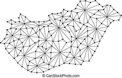 Hungary map of polygonal mosaic lines network, rays and dots vector illustration.