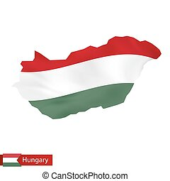 Hungary map with waving flag of Hungary.