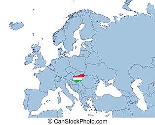 Hungary on Europe map illustration