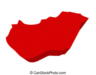 Hungary Red 3d Europe Map Isolated