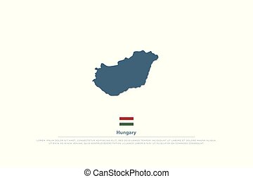 hungary - Republic of Hungary isolated map and official flag...