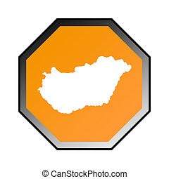 Hungary road sign isolated on a white background.