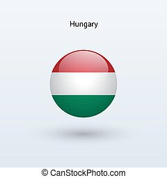 Hungary round flag. Vector illustration.