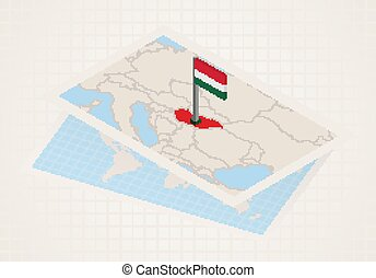 Hungary selected on map with isometric flag of Hungary.