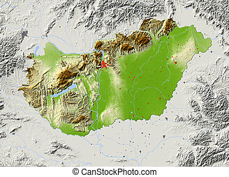 Hungary, shaded relief map - Hungary. Shaded relief map with...