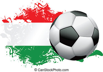 Hungary Soccer Grunge Design - Soccer ball with a grunge...