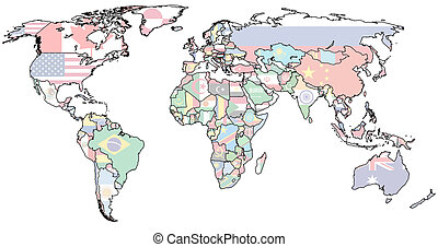 hungary territory on world map - hungary flag on old vintage...