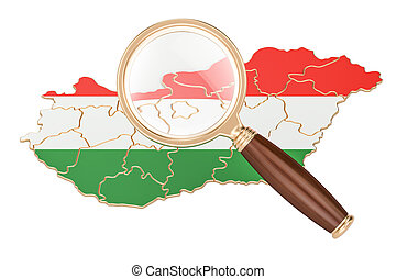 Hungary under magnifying glass, analysis concept, 3D rendering